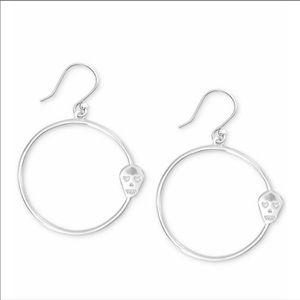 Lucky Brand Silver Tone Skull Hoop Earrings
